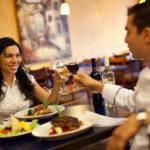 Couple having an enjoyable meal together